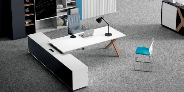 福玛仕办公家具|简格系列现代板式班台书柜组合展厅实景展示