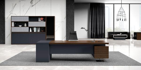 福玛仕办公家具|君悦系列现代大班台文件柜组合实物展示视频
